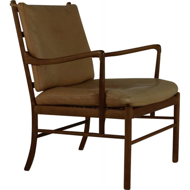 Vintage chair with beige leather cushion by Poul Jeppesen Denmark
