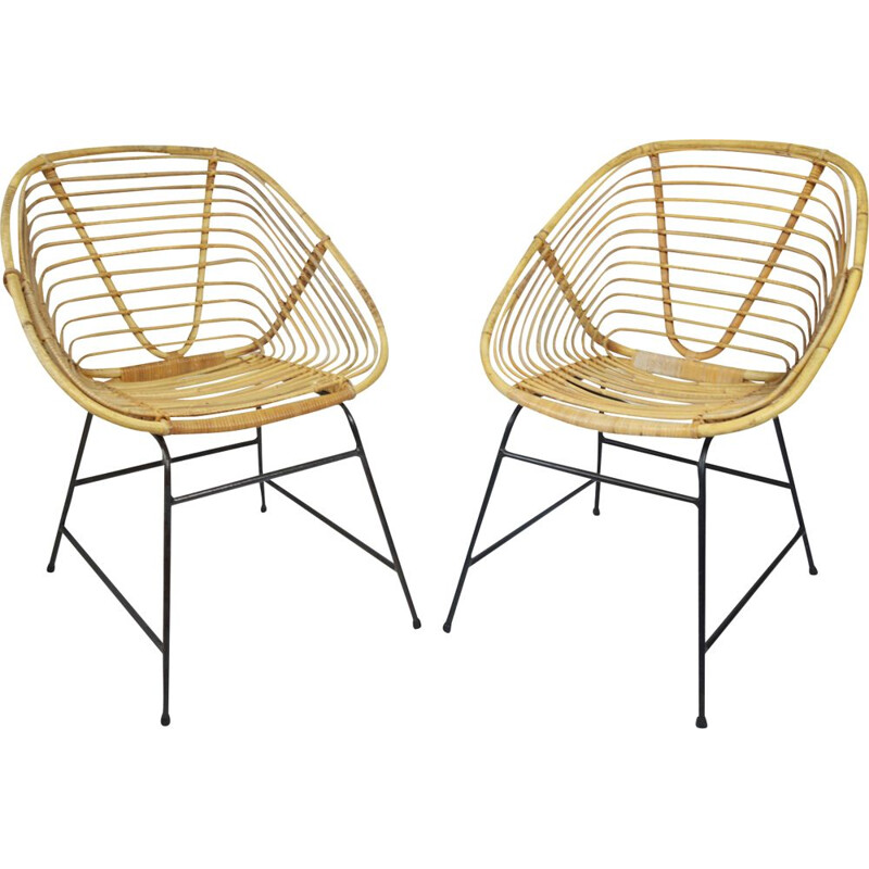 Pair of vintage wicker armchairs 1970s