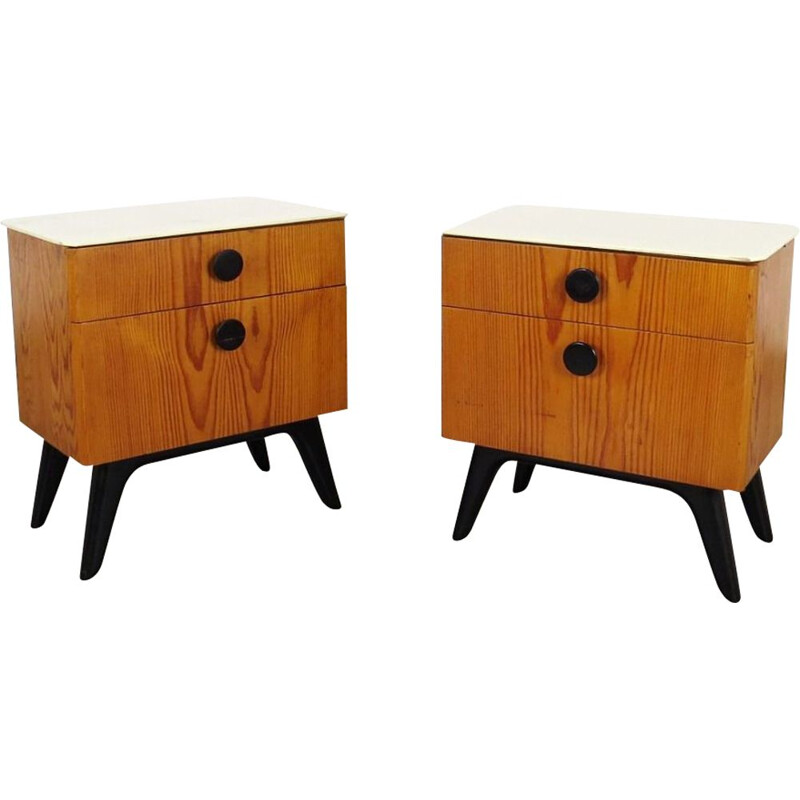 Pair of vintage nightstands by Jindřich Halabala