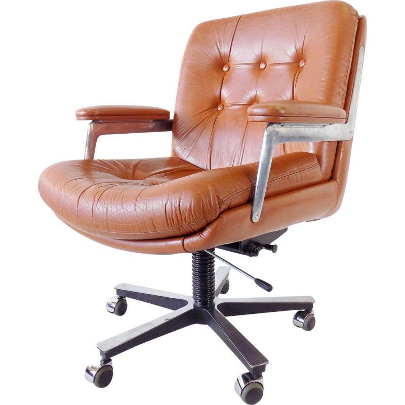 Vintage leather office chair by Ring Mekanikk 1960s
