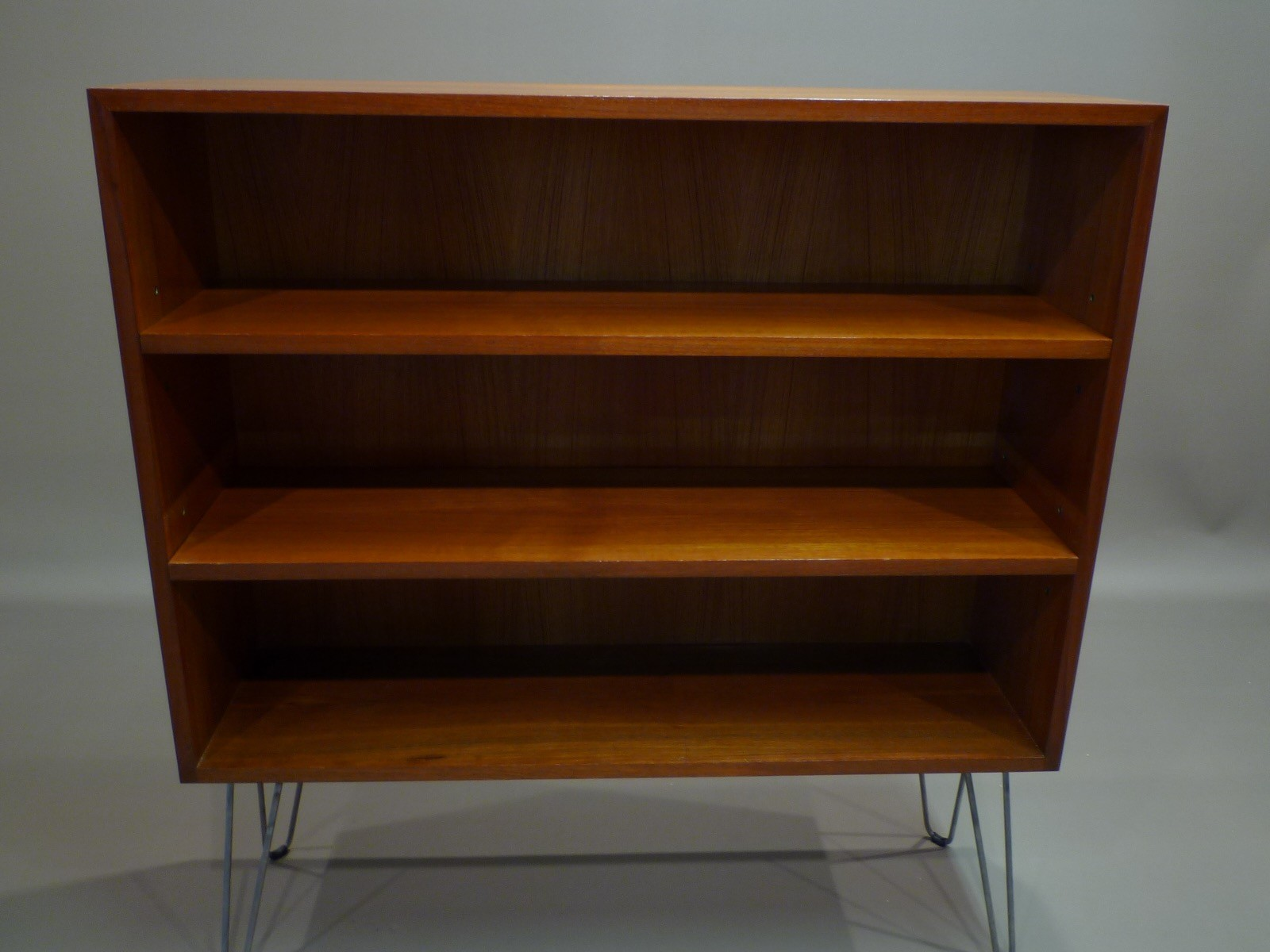 Small Scandinavian Bookcase In Teak With Hairpin Legs Metal