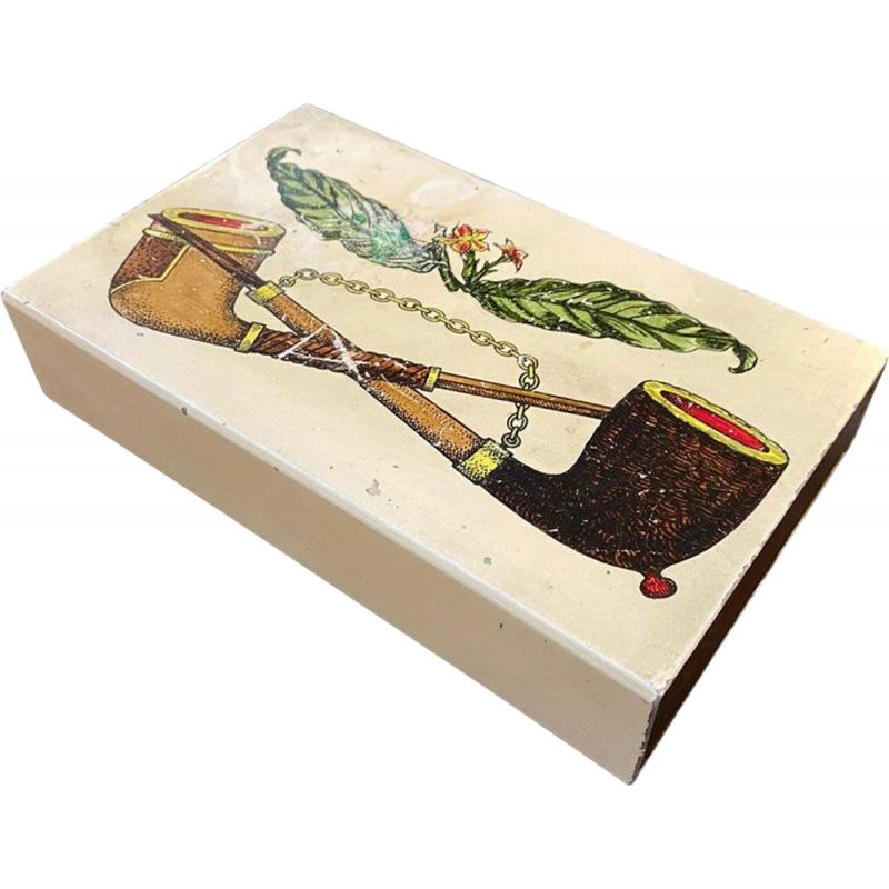 Vintage cigarette box decorated with pipes by Atelier Fornasetti