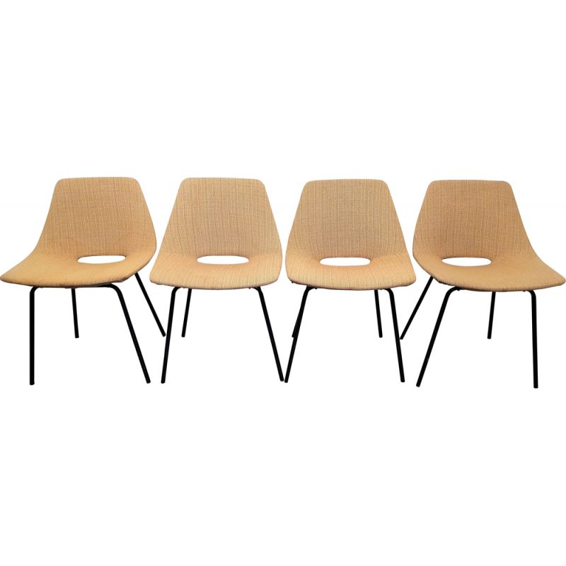 Set of 4 vintage chairs by Pierre Guariche 1955s