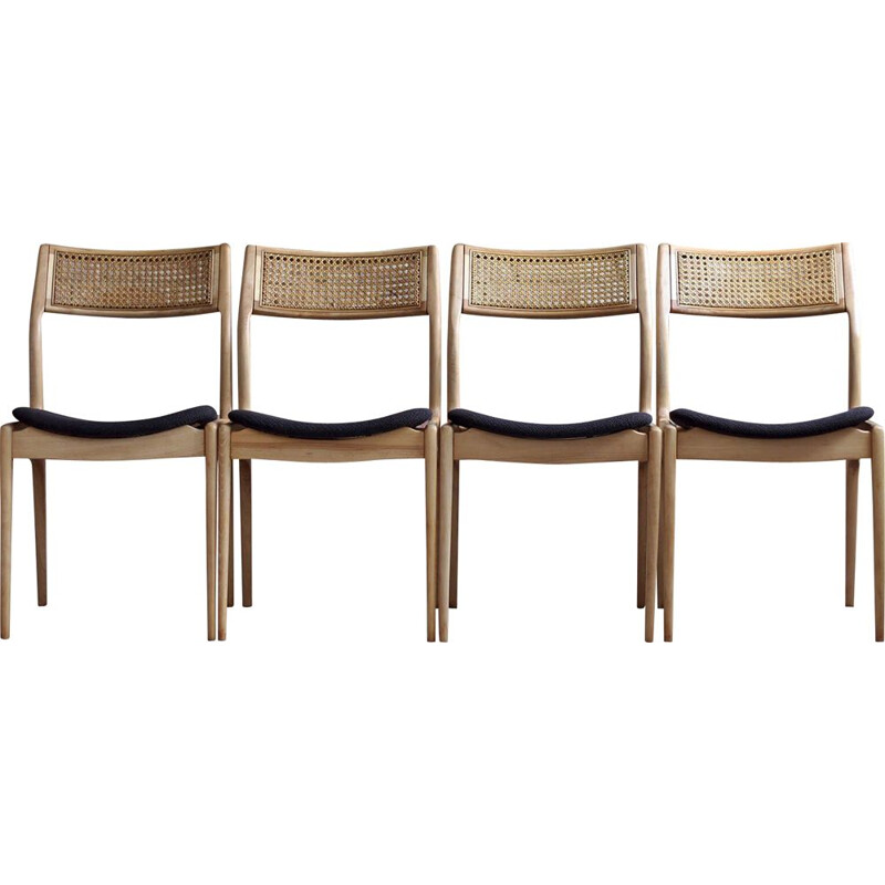 Set of 4 vintage aubergine brown chairs by Edmund Homa 1960s