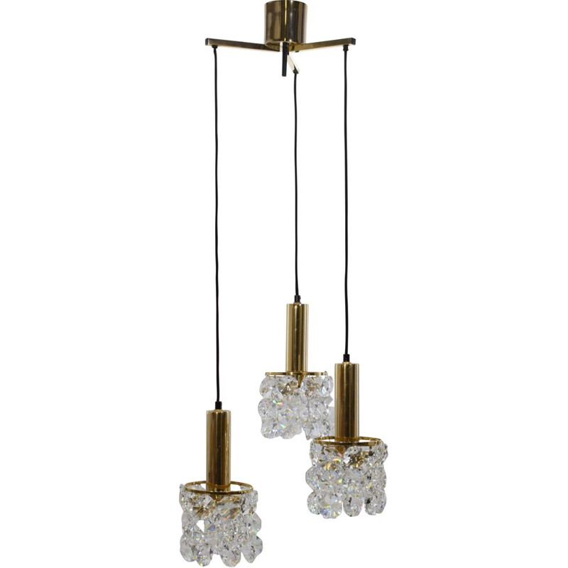 Vintage gilt brass and crystal chandelier from Palwa 1960s