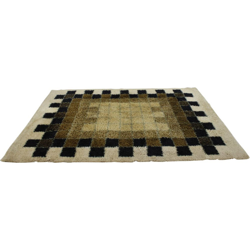 Vintage abstract wool rug by Hojer Eksport Wilton Denmark 1960s