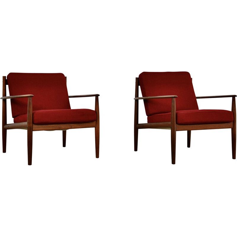 Vintage armchairs in wood and red fabric by Grete Jalk 1960s