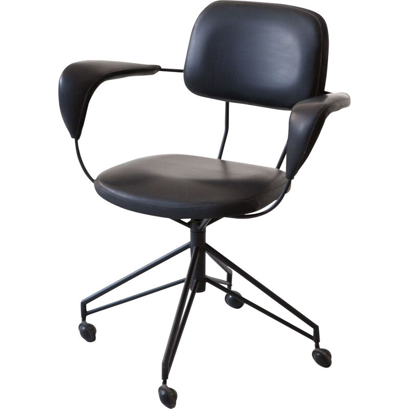 Vintage office chair black metal and leatherette  by Gastone Rinaldi for Rima Italy 1950s