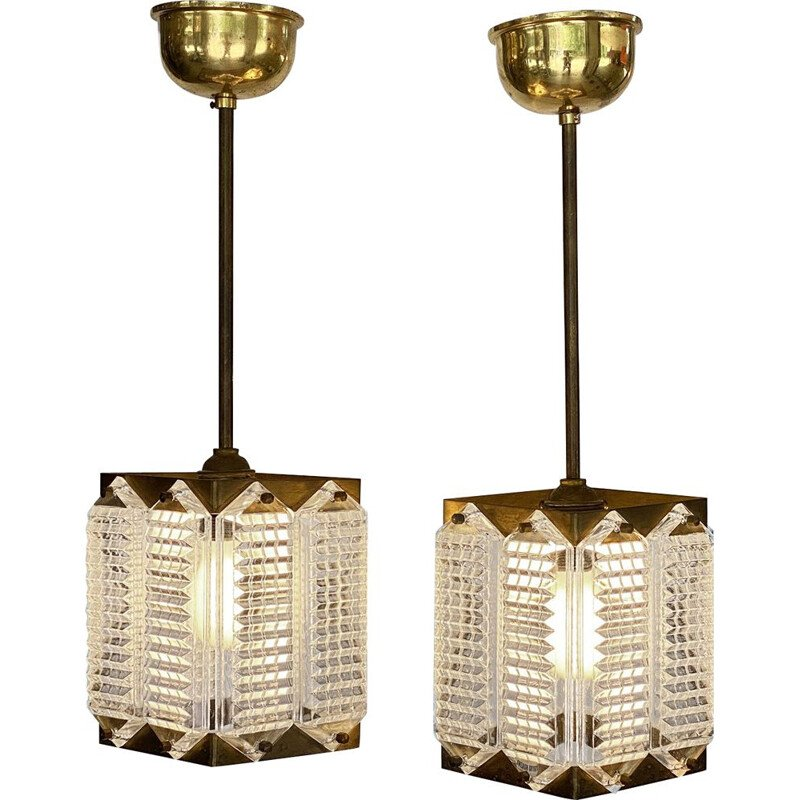 Pair of vintage brass and glass pendant lamps by Wiktor Berndt, Sweden 1960