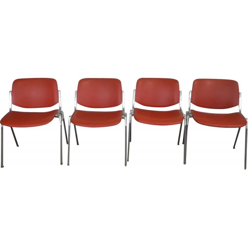 Set of 4 vintage office chairs by Giancarlo Pirelli
