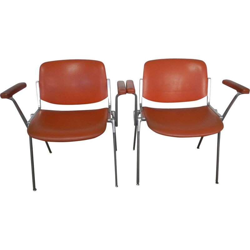 Pair of vintage office chairs by Giancarlo Piretti for Anonima Castelli Italy