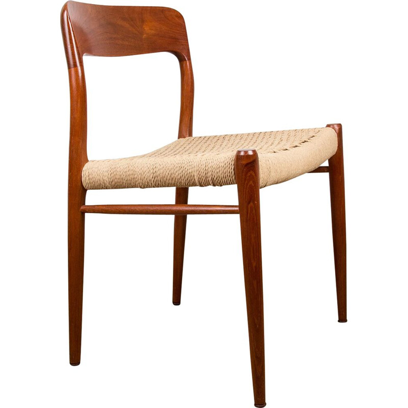 Set of 6 vintage teak and paper cord chairs 1954s