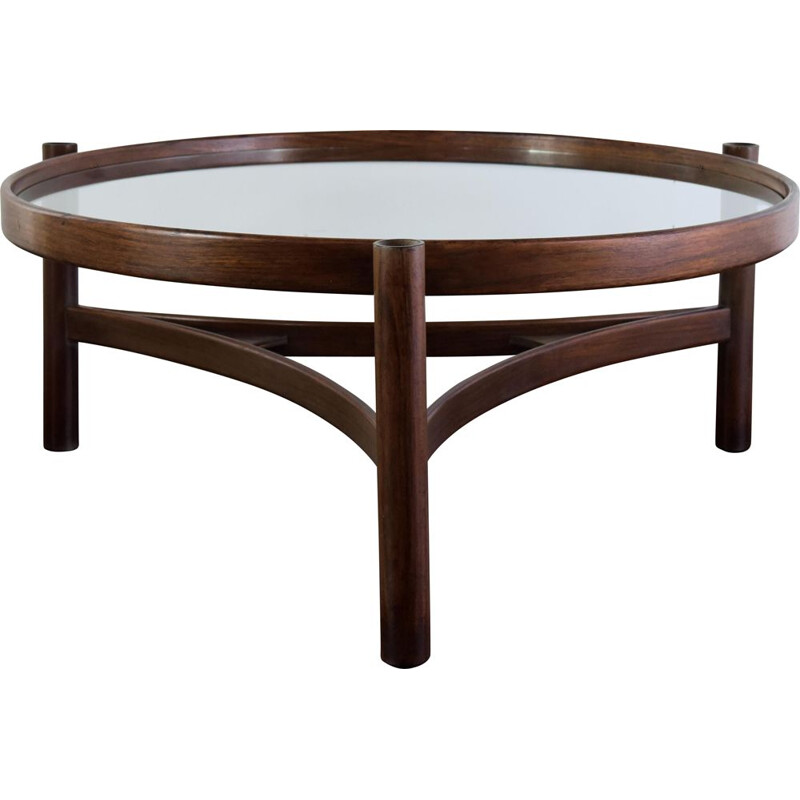 Vintage coffee table Walnut stained bent beechwood  by Gianfranco Frattini