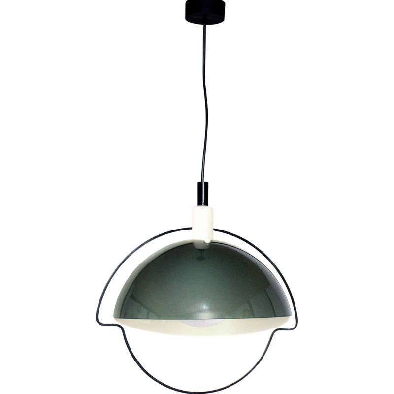Vintage glass and metal pendant lamp Italy 1970s
