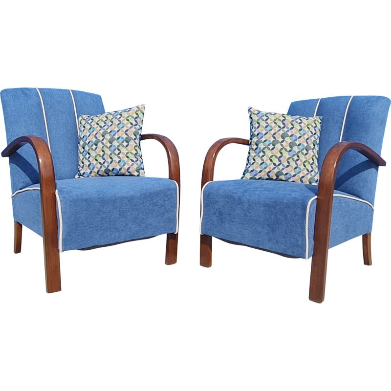 Pair of vintage lounge chairs by Jindřich Halabala Czechoslovakia 1930s