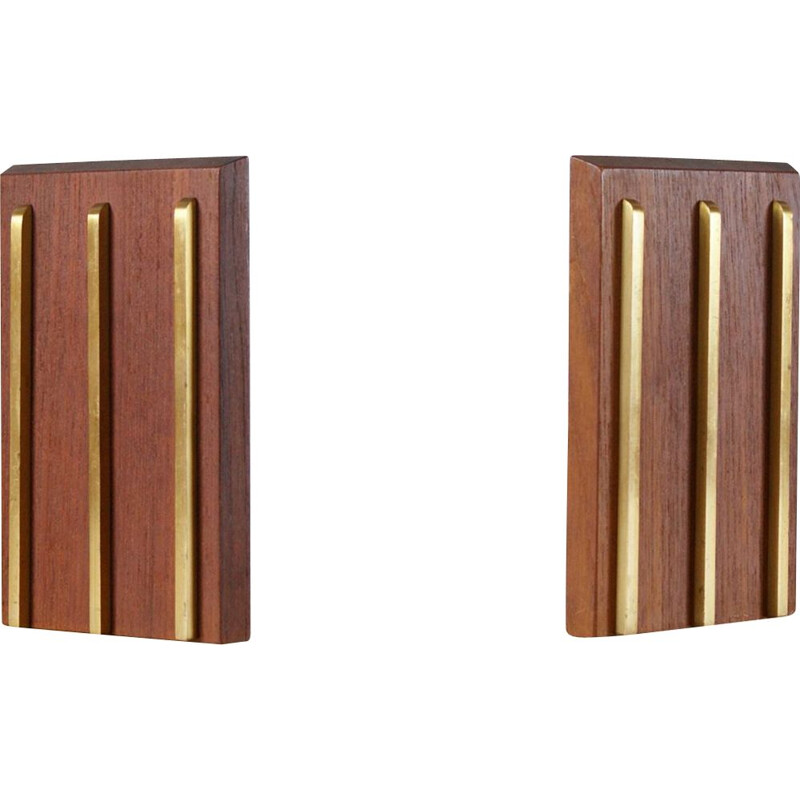 Pair of vintage teak and brass bookends 1950s