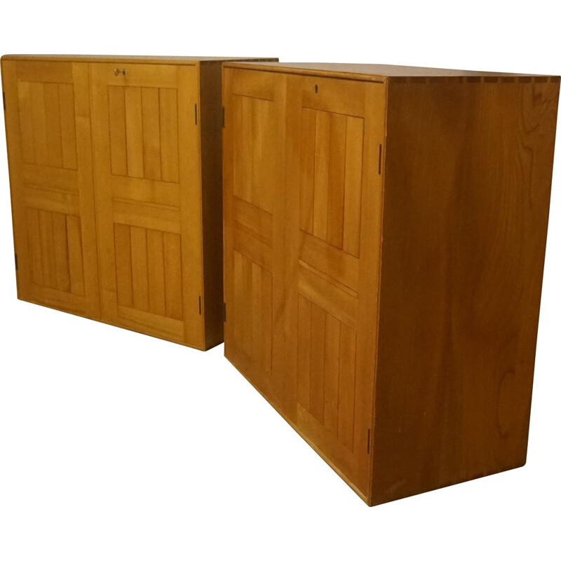Pair of classic vintage solid elm bookcases by Mogens Koch 1940