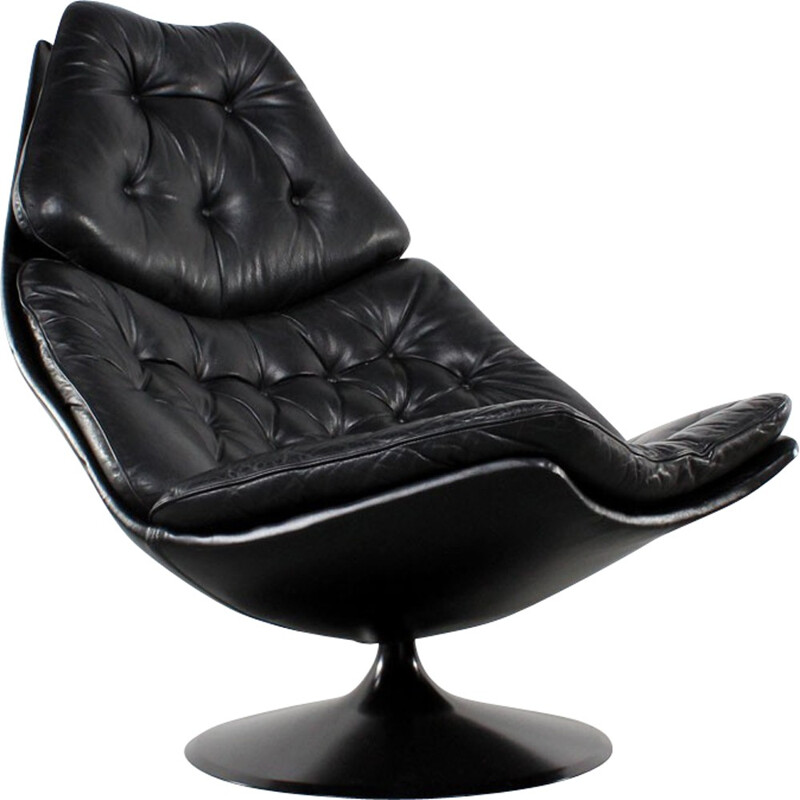 """Artifort """"F588"""" lounge chair in black leather and plastic, Geoffrey HARCOURT - 1970s"""