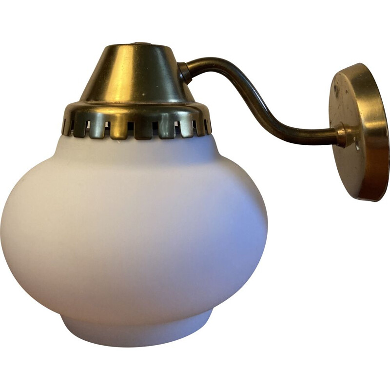 Vintage brass wall lamp with opal glass shade 1940s