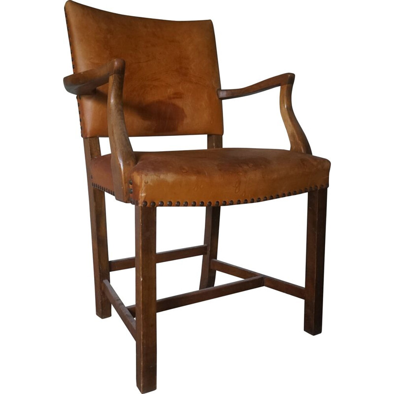 Vintage leather armchair with patina by Ole Wanscher for A.J Iversen