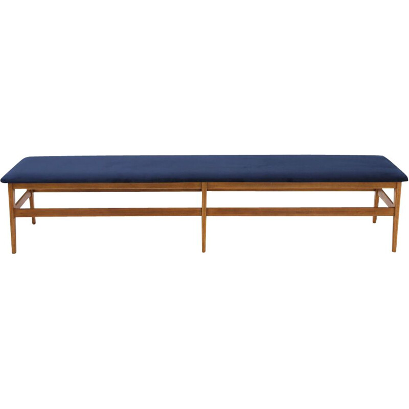 Vintage wooden bench with blue velvet top 1960s