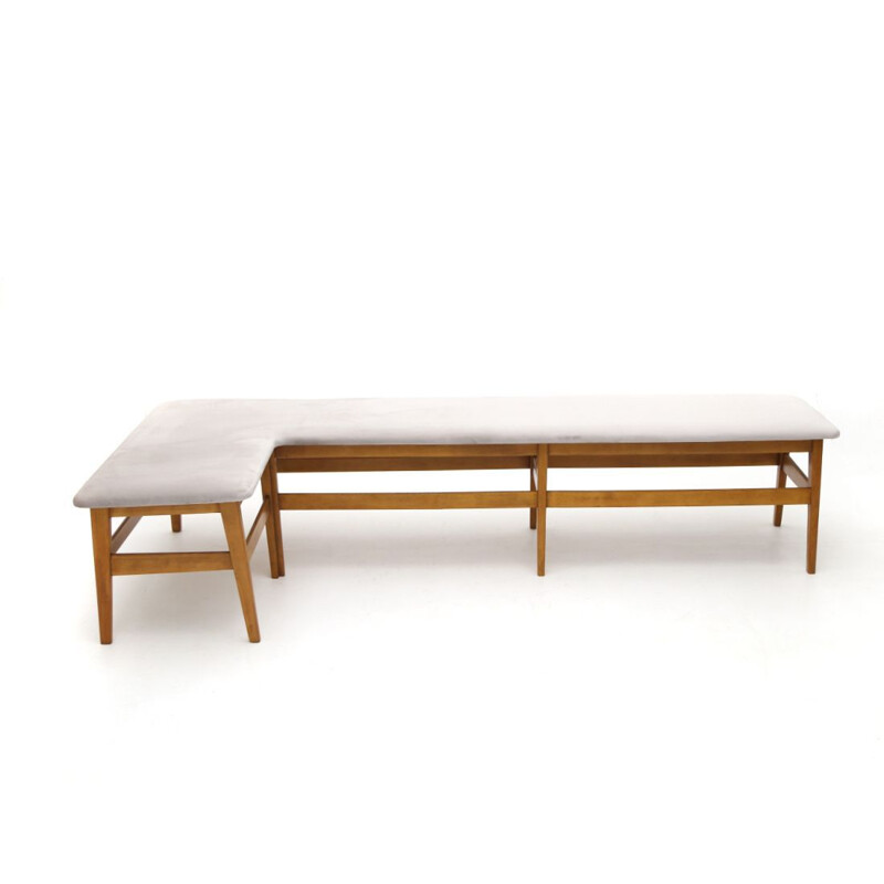 Vintage angular wooden bench with grey velvet seat 1960s