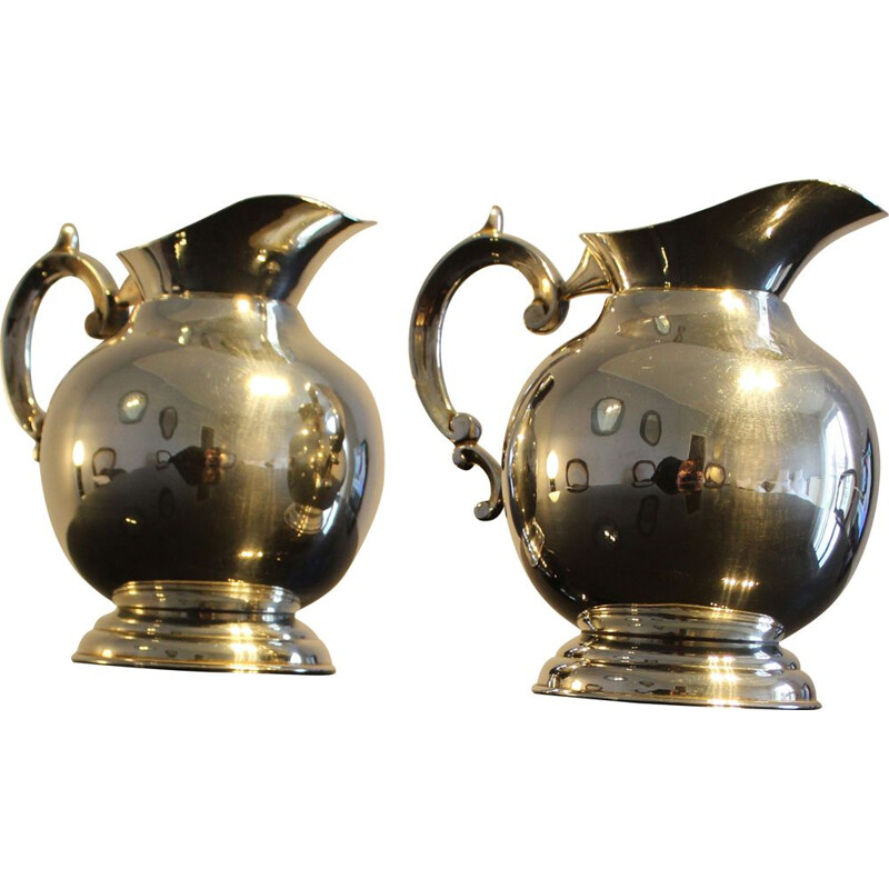 Pair of vintage silver plated jugs Italy 1950s