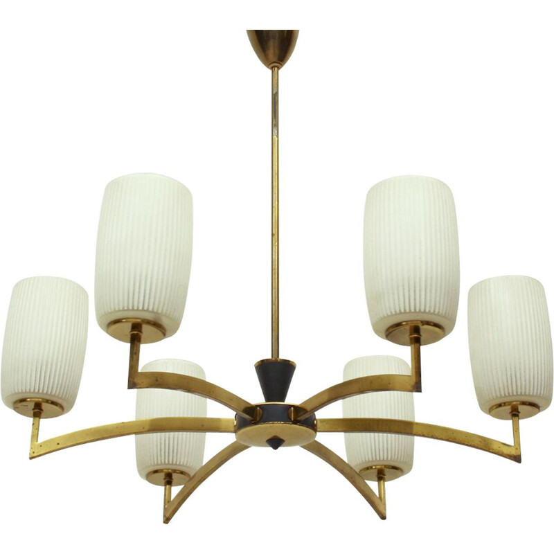 Vintage chandelier with 6 arms in brass and glass 1950s