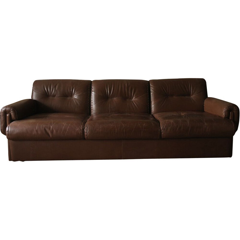 Vintage sofa Brown leather 3 seater   Switzerland 1960s