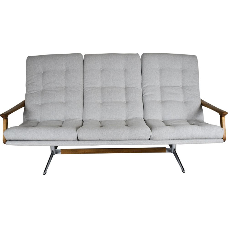 Vintage scandinavian sofa with light grey fabric 1960s