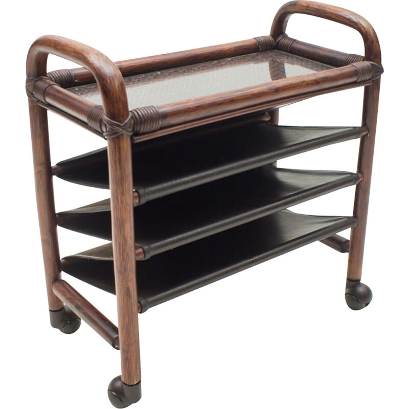 Vintage bamboo and leather newspaper cart with shelf 1970s