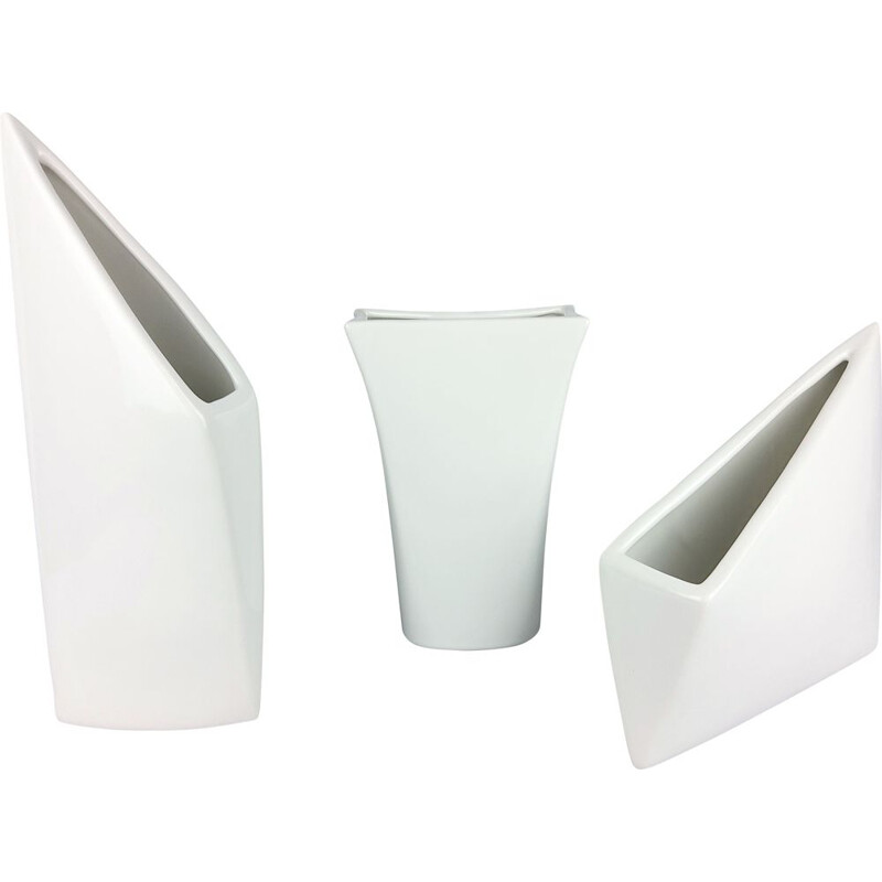 Set of 3 vintage white ceramic vases 1960s