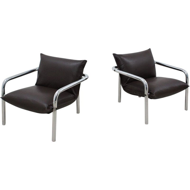 CIDUE chromed and leather armchairs 1970s