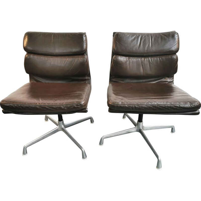 Vintage Soft Pad EA 205 Eames armchair for Herman Miller