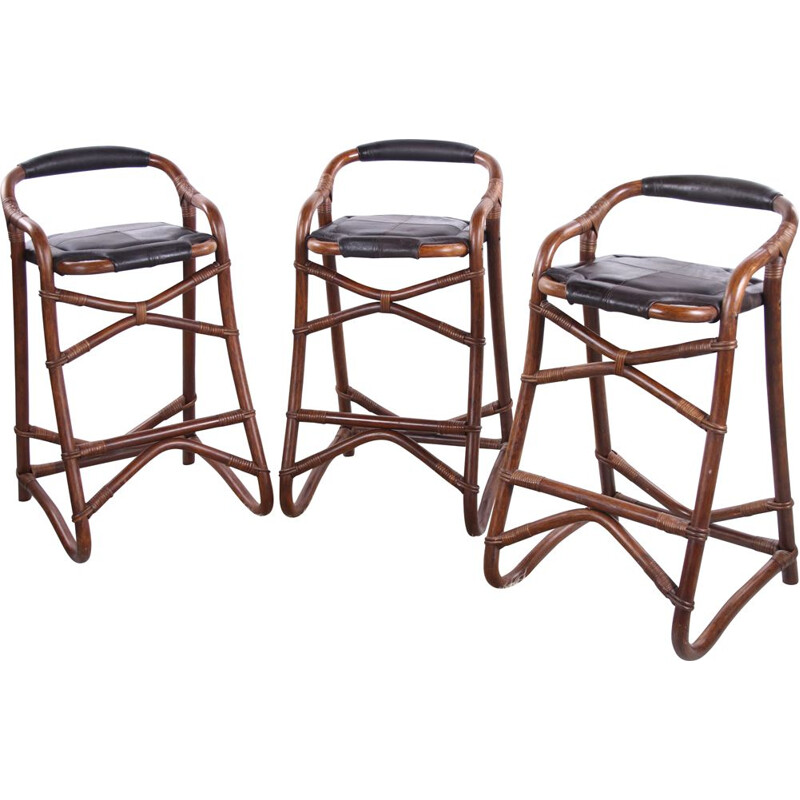 Set of 3 vintage bamboo bar stools from Horsnaes Denmark 1970s
