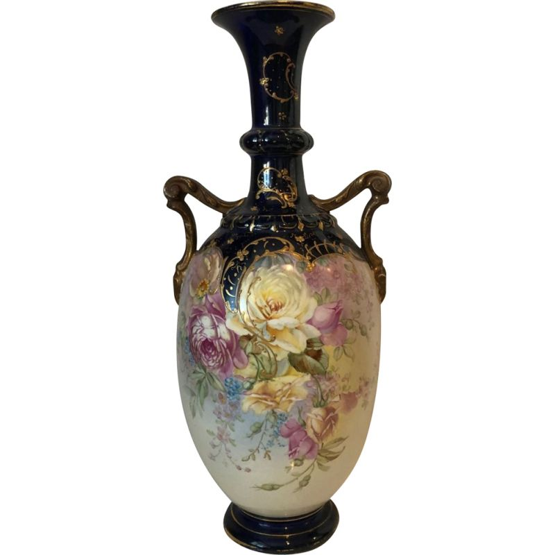 Vintage large  porcelain vase with hand painted flowers