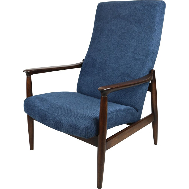 Vintage blue high armchair by Edmund Homa 1970s