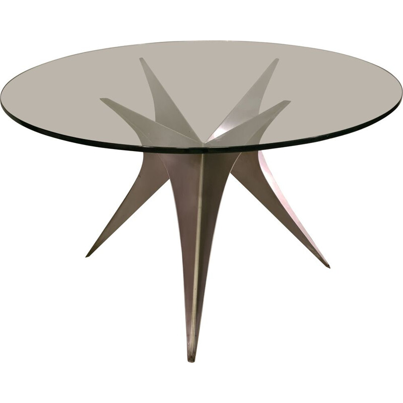 Vintage glass and brushed steel table by Paul Le Geard 1970s