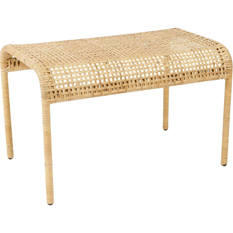Vintage footrest in metal and woven rattan