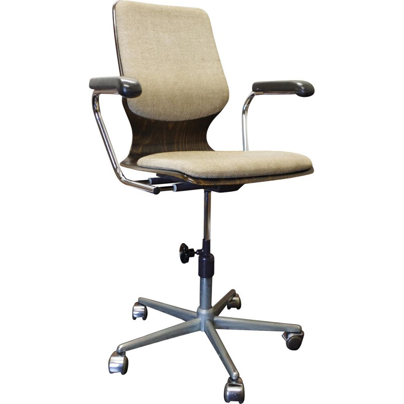 Vintage swivel office chair by Elmar Flototto Pagholz 1970s