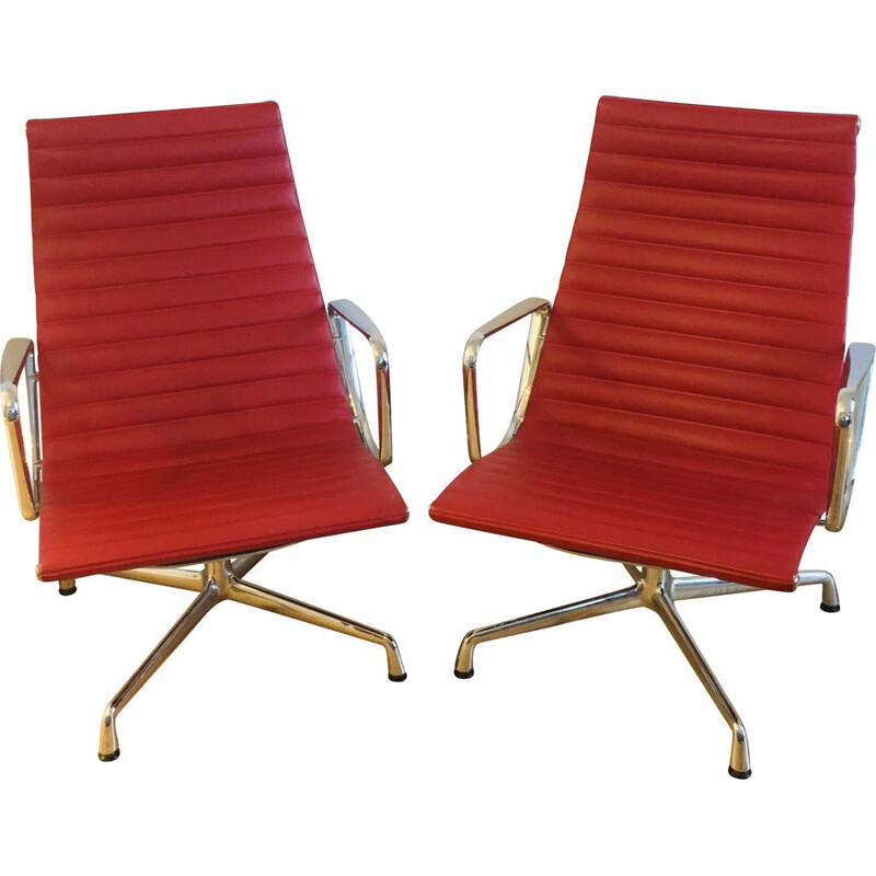 Pair of vintage leather chairs 1958s