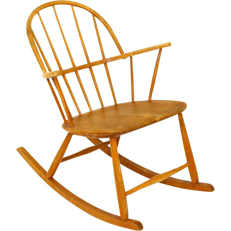 Vintage beech rocking chair by Nesto Stolfabrik Sweden 1960s