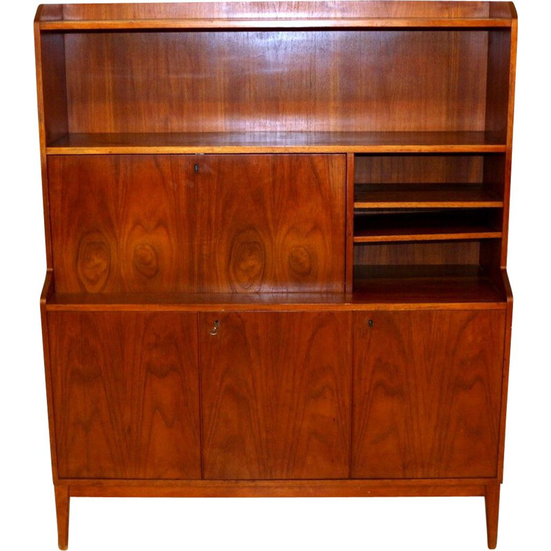 Vintage walnut bookcase Sweden 1960s