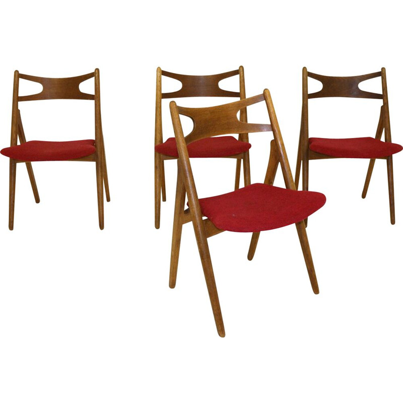 Set of 4 vintage oak and teak chairs 1960s