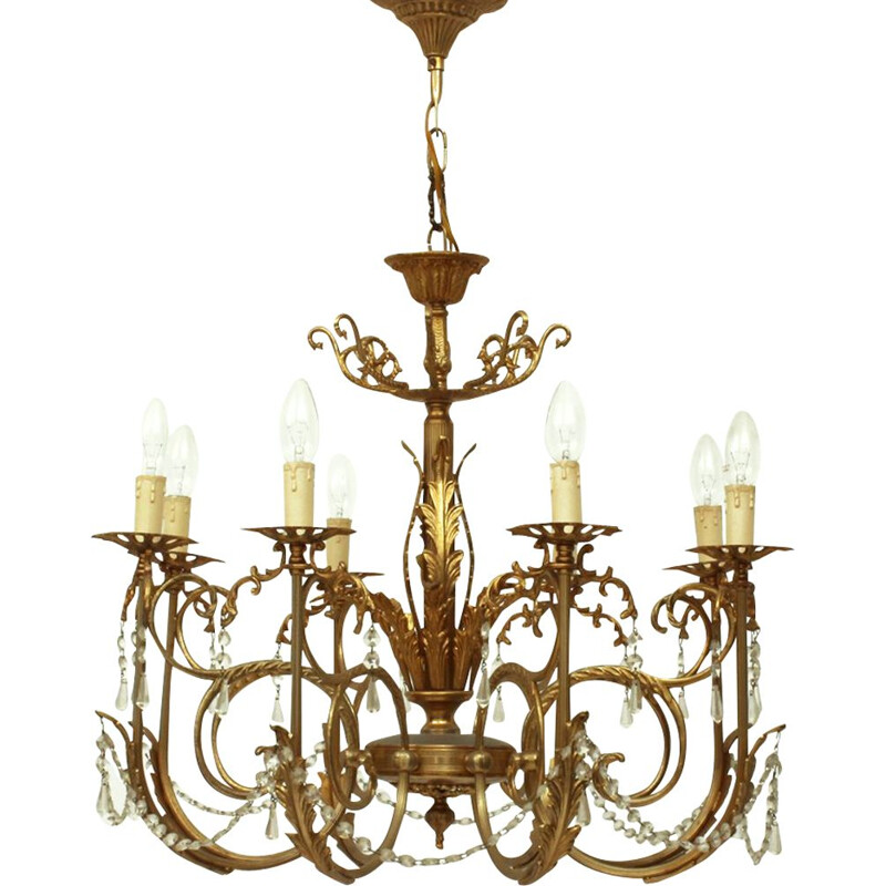 Vintage 8 arms brass and glass chandelier 1960s