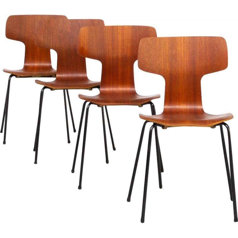 Set of 4 vintage hammer chairs by Arne Jacobsen 1960s