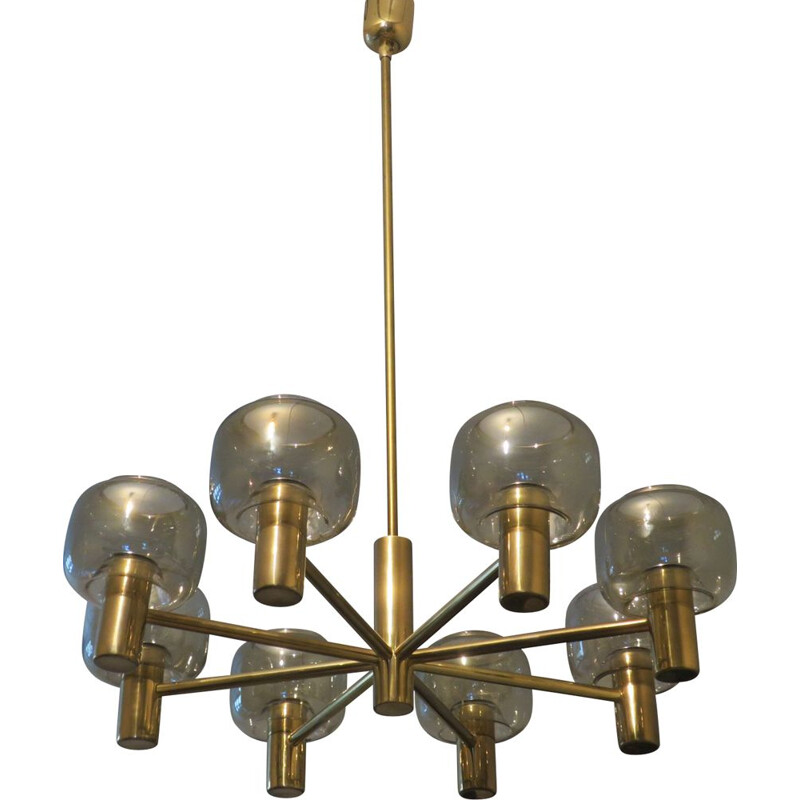 Vintage large chandelier with 8 arms in brass and glass