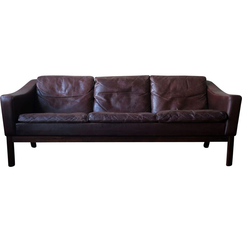 Vintage sofa rosewood and leather 1960s