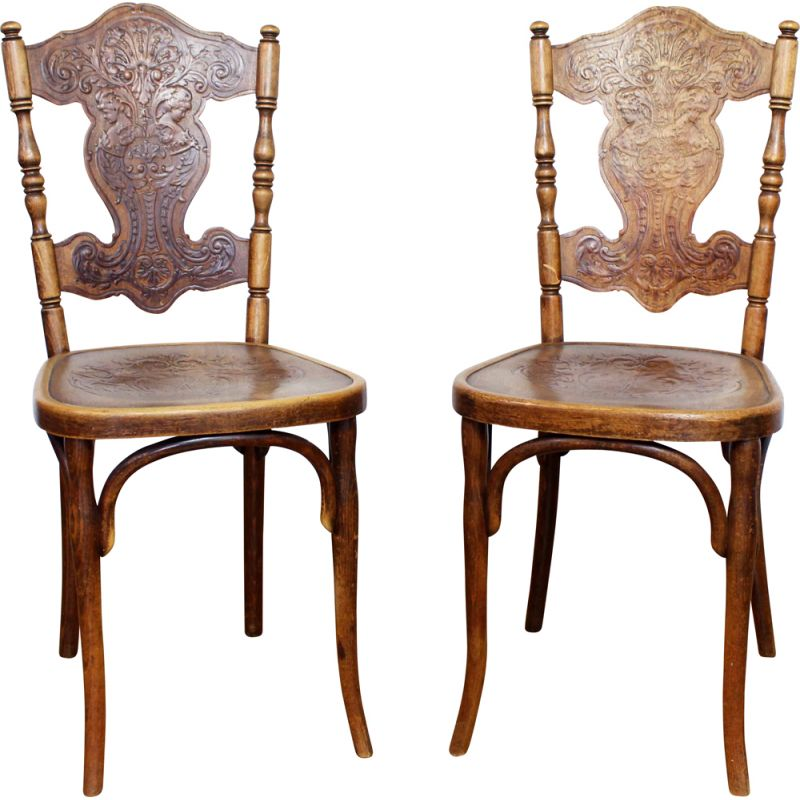 Pair of vintage antique chairs with decoration by Jacob & Josef Kohn