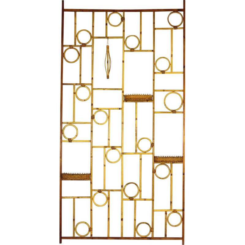 Vintage room divider in bamboo and rattan 1970s